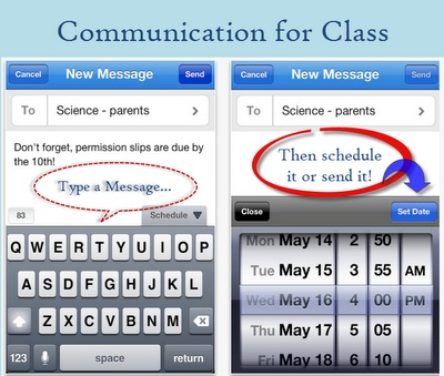 Remind 101: Send a group text or e-mail to parents or students. All phone numbers & e-mail addresses are confidential. Text without giving out your cell number. You can set up different groups. You can even schedule a text to go later. Great for weekly reminders. So handy!