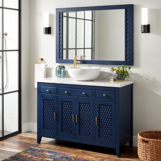 48 Thorton Mahogany Vessel Sink Vanity Bright Navy Blue Single Bathroom Vanity Bathroom Vanity Vessel Sink Vanity