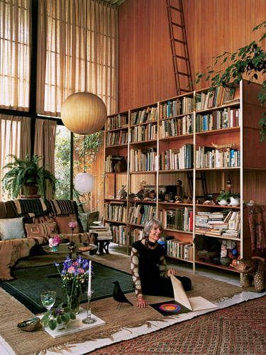Lucia Eames in the Eames House, 2004...where does that ladder go?...I must know!