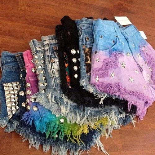 Studded, bleached, dyed, ripped, cut-off high-waisted shorts. I would love a closet full of these!