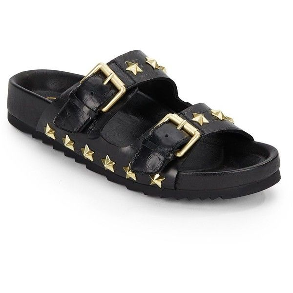 Ash United Star-Studded Leather Slide Sandals ($100) ❤ liked on Polyvore featuring shoes, sandals, black leather shoes, white slide sandals, leather shoes, white leather shoes and white sandals