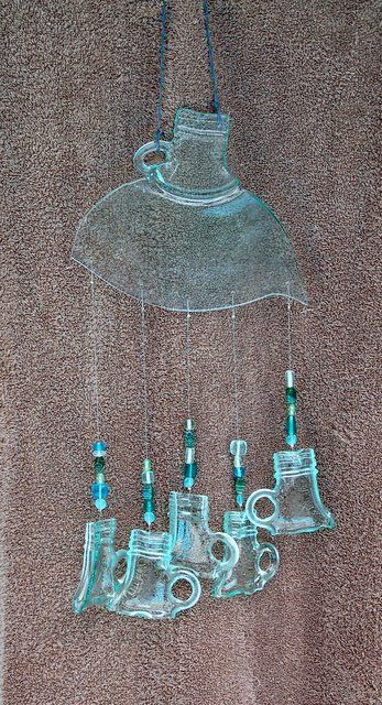 recycled jug wind chimes ~ 2 Glassy Broads @ sites.google.com/site/2glassybroads/‎