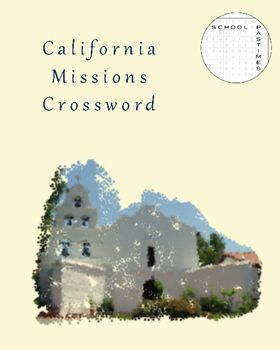 PDF of a crossword puzzle containing the names of all 21 California missions. Contains ready-to-print page with the puzzle and answer key on second page.