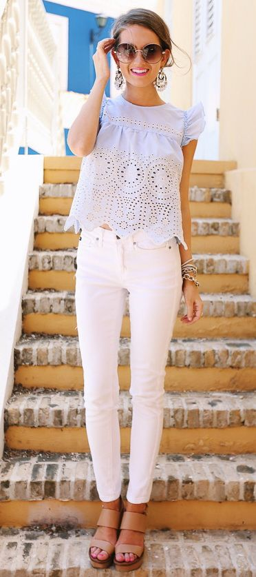 @roressclothes closet ideas #women fashion outfit #clothing style apparel white top, jeans summer