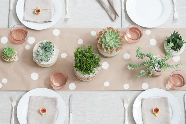 Donna Wilson inspired tablescape with DIY planters by Matthew Robbins: Decorate A, Inspiration Tablescapes, Paper Runners, Succulents Planters On Tables, Kraft Paper, Polka Dots Tables Runners, Succulents Centerpieces, Diy Planters, Gold Dots