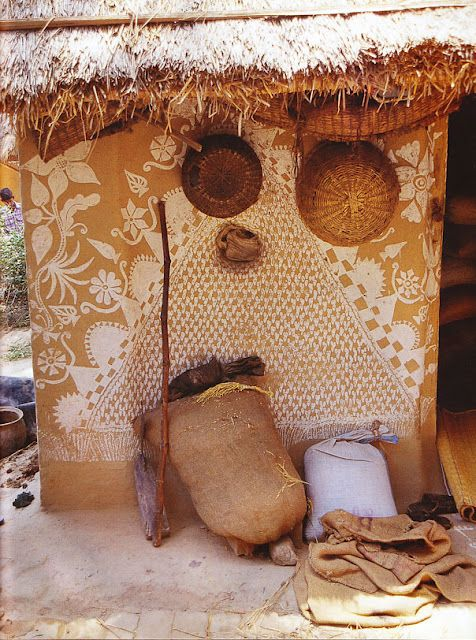 One section of mud hut. Love how plain white paint can do so much. This speaks to how important design is.
