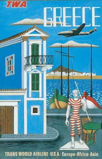 Greece • TWA #travel #poster by Nikos Eggonopoulos (1952)