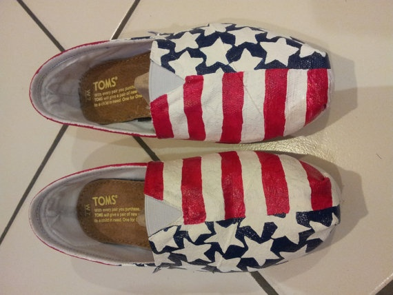 American Flag Toms by megganmoffett on Etsy
