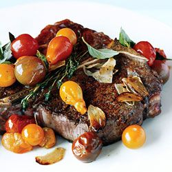 {paleo} Porterhouse Steak with Pan Seared Cherry Tomatoes Recipe | Epicurious.com