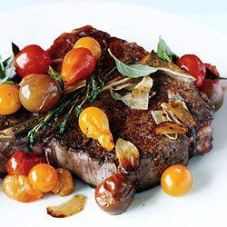 {paleo} Porterhouse Steak with Pan Seared Cherry Tomatoes Recipe | Epicurious.com