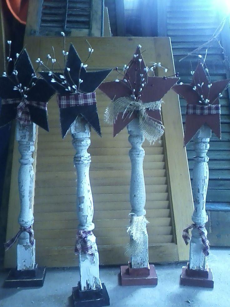 Primitive star on porch spindle by AnnsPrimitives on Etsy, $16.00
