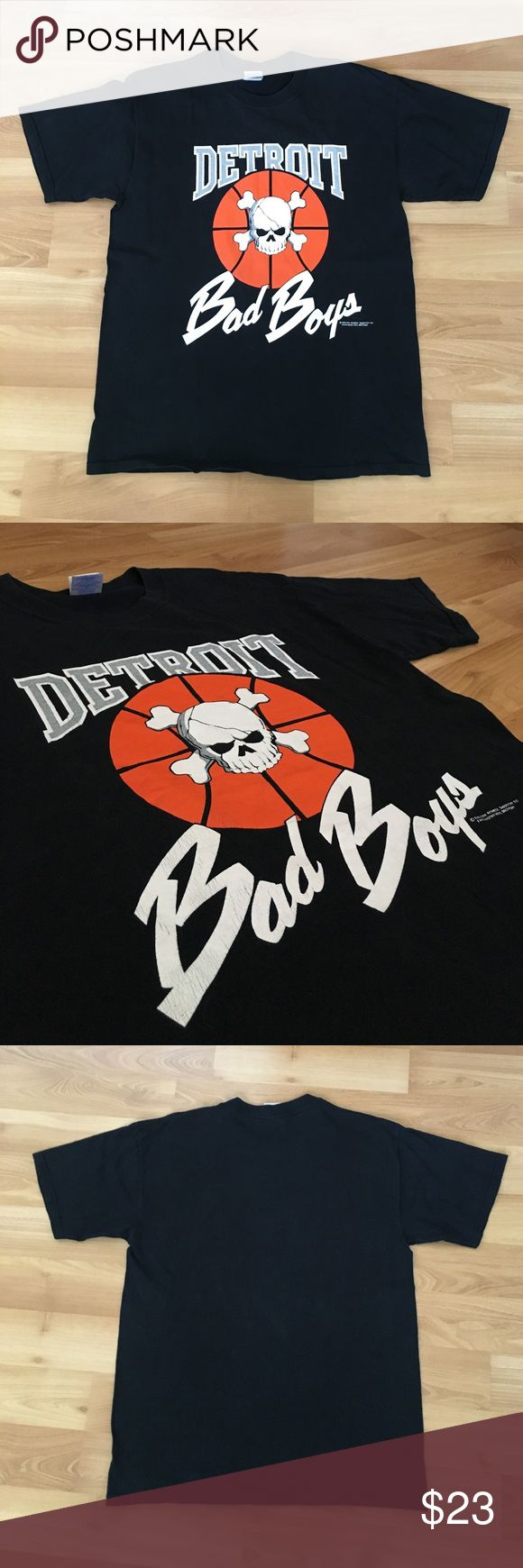Vintage Detroit Bad Boys Pistons Skull Shirt Sz LG Vintage Detroit bad boys Pistons size large NBA skull and bones t shirt. It's a black shirt with an orange basketball and grey skull and bones. This is a highly rare shirt from 1988 that barely shows any signs of wear, the emblems are slightly cracked due to being nearly 30 years old. Other then that, zero stains. Gildan Shirts Tees - Short Sleeve