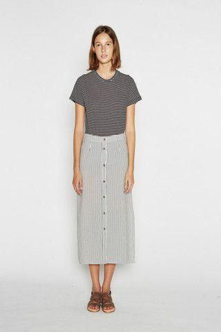 Vanishing Elephant Skirt - Linen Pinstripe – Eclectic Ladyland