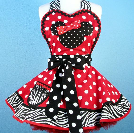 red minnie mouse polka dot material | Custom Order for AMY Minnie Mouse Apron with Red White and Black White ...