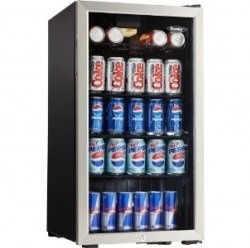 A mini fridge with glass door front like the popular models displayed here are great for an under cabinet solution in a mini bar, as a snack and...