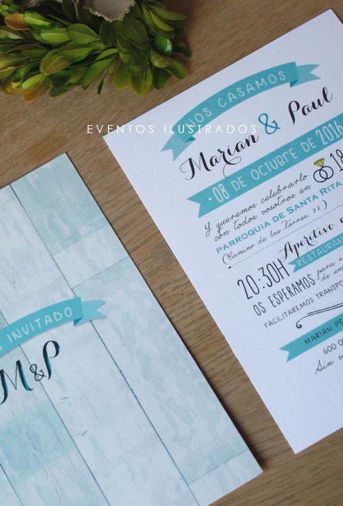 Invitación de boda con diferentes tipografías: muy de moda!