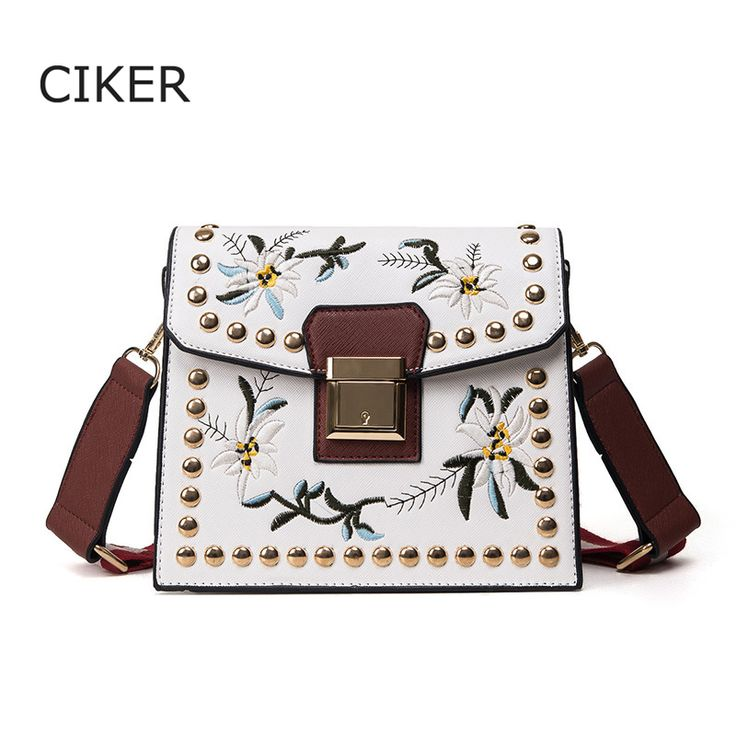 Cheap embroidery bag, Buy Quality bag ladies directly from China brand messenger bag Suppliers: CIKER Brand Rivet Embroidery Bag Ladies Crossbody Bags Fashion Women Leather Handbags Wide shoulder strap Women Messenger Bag