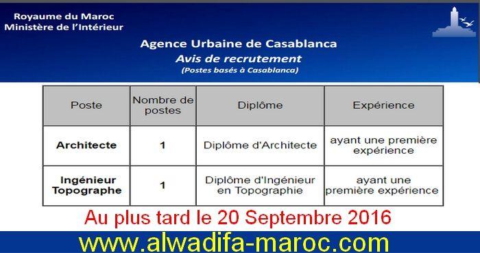 Dans le cadre du renforcement de ses effectifs, l'Agence Urbaine de Casablanca organise un concours de recrutement d'un Architecte et un  Ingénieur Topographe