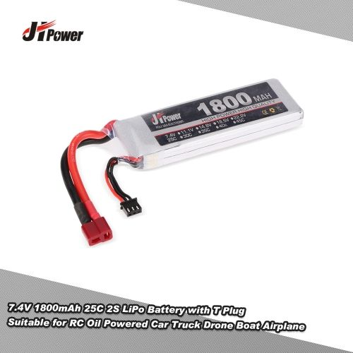 JHpower 7.4V 1800mAh 25C 2S LiPo Battery with T Plug for RC Oil Powered Car Truck Drone Boat Airplane