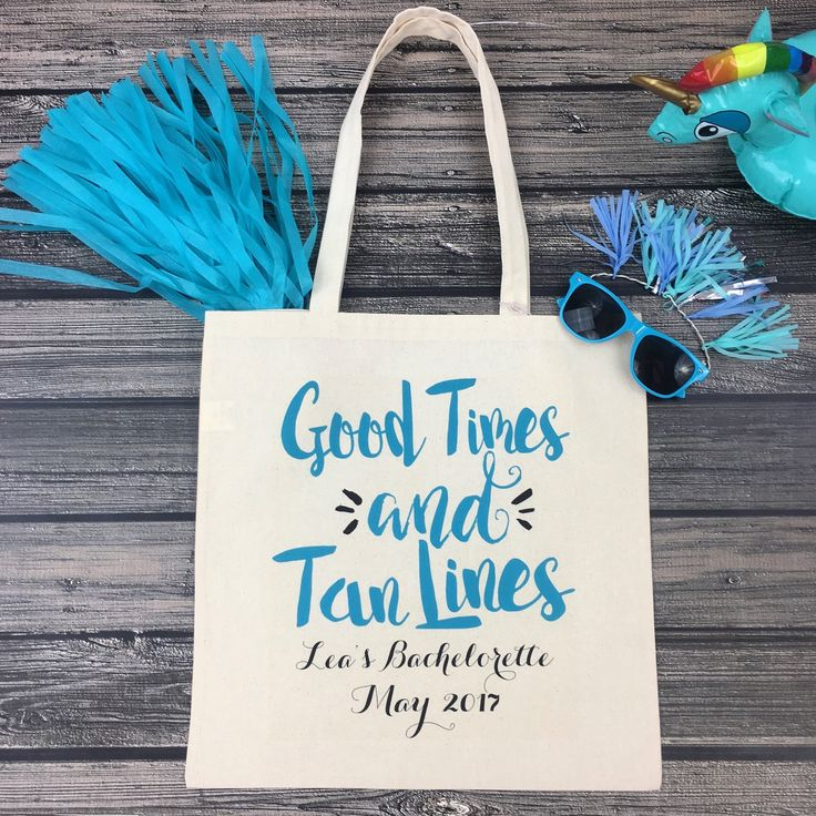 Looks like this bachelorette bash is ready for some GOOD TIMES & TAN LINES!! Are you planning a beach bachelorette?! Our adorable bags are def a must have favor for your girls!