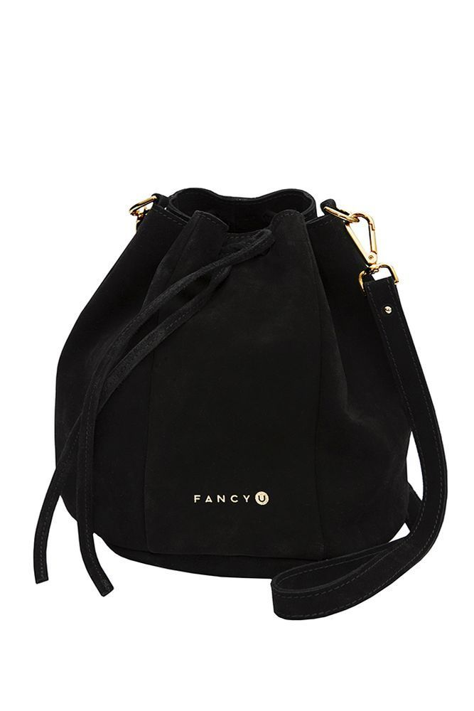Back to Black Small (suede, black) A small version of Back to Black is made from beautiful black suede.  Despite its appearance, will accommodate a lot of things. The bag is perfect for informal meetings with friends but also for offical ocasions. As all of our models, it is made with the utmost care. It has our gold embossed logo in the front,  thin lining and a pocket inside and strap with adjustable length. Golden Italian fittings give it bold character.