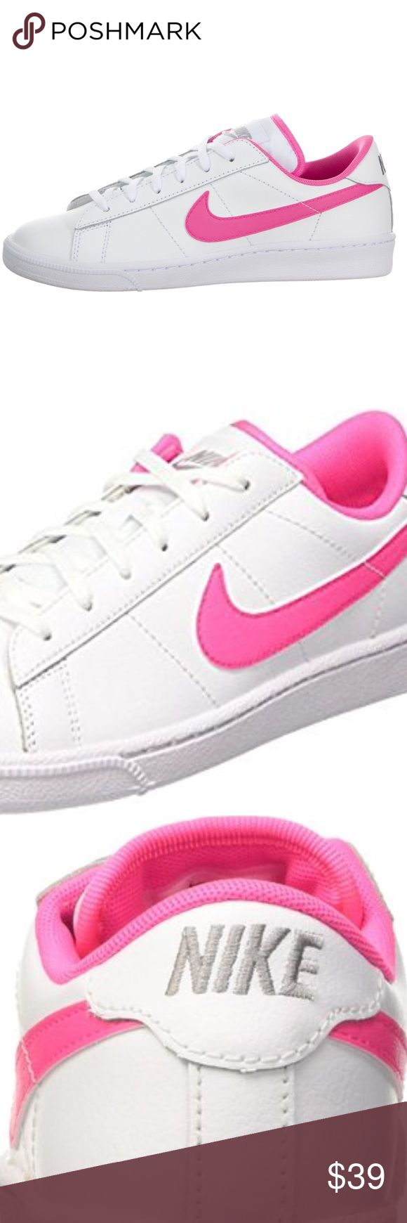 NWT NIKE SNEAKERS TENNIS 🎾 CLASSIC (GS) Pink-Pow Brand new in box. White/pink-pow. Youth size 5.5. Nike equation chart indicates that a 5.5Y is equivalent to a Size 7 in Womens. These are super cute! Comes from a smoke free home 🏡 Bundle & save!! Nike Shoes Sneakers