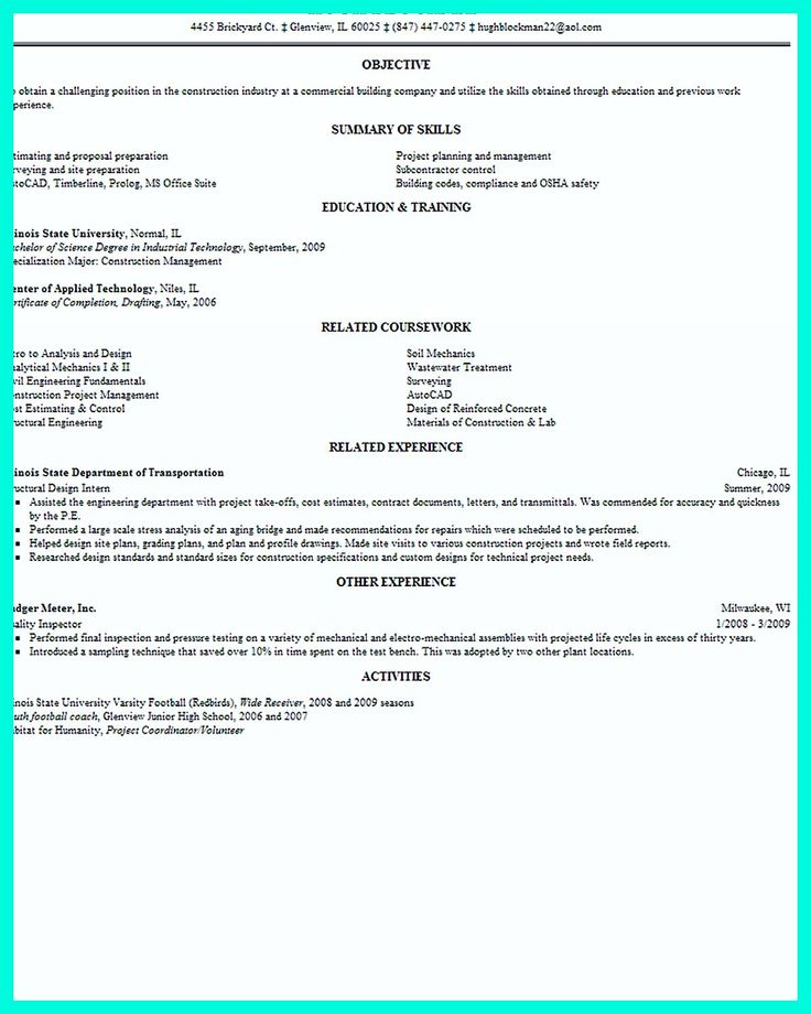 Construction Superintendent Resume Examples Writing Graduate Level