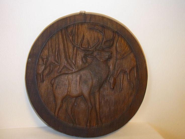 VINTAGE German Folk Art HUNT TARGET Oak Wood Carved Deer Rifle Cub #BA #folkart