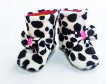Imitación piel botas de invierno de Dalmation impresión con ajuste de arco lindo