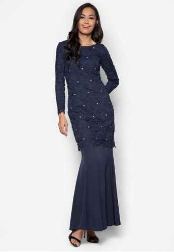Baju Kurung Lace With Sequin Embellishments - Vercato Liza from VERCATO in Blue If you're the kind of person who prefers a dash of glitz into their wardrobe, enthrall your peers wearing this glamorous VERCATO creation. The classic baju kurung construction gets a hefty feminine injection thanks to the gorgeous lacey overlay c... #bajukurung #bajukurungmoden