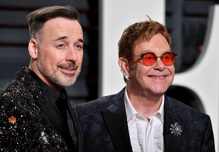 David Furnish and Elton John.