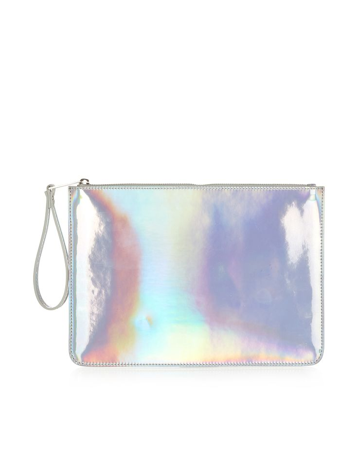 Frankie Flat Zip Top Bag | Silver | Accessorize