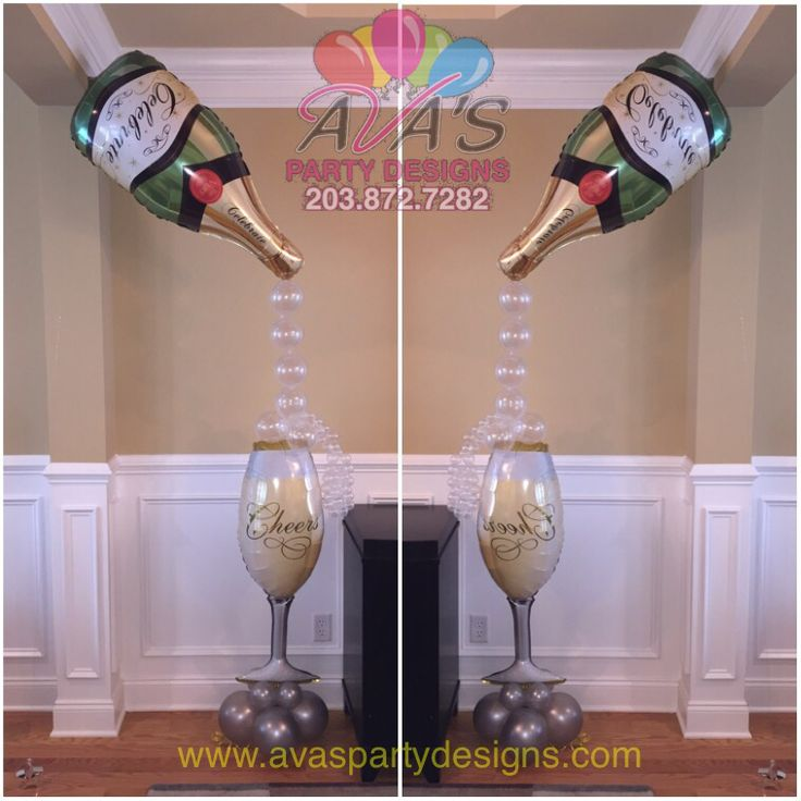 Champagne bottle and glass balloon decoration. Great for bridal shower, wedding decor or a gift for the the bride-to-be! #partywithballoons (Champagne Bottle Gift)