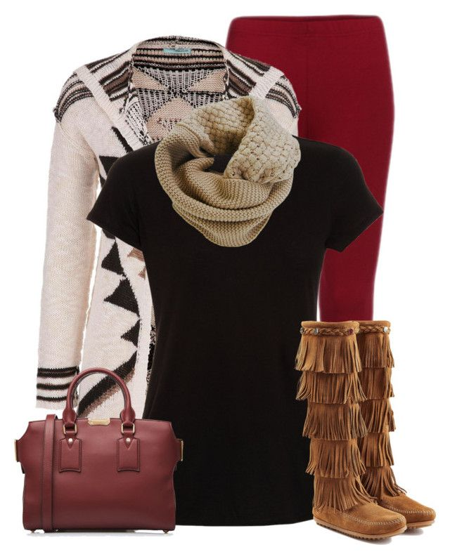 """Fringe Boots (OUTFIT ONLY!)"" by cindycook10 ❤ liked on Polyvore featuring maurices, Vince, Minnetonka, Humble Chic and Burberry"
