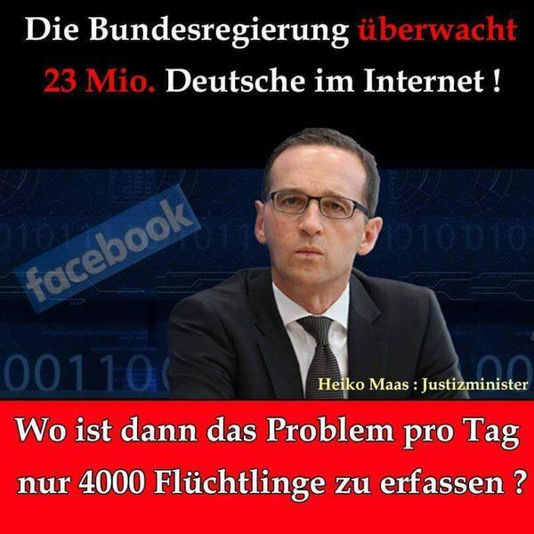 Die Bundesregierung überwacht 23 Mio. Deutsche im Internet! Wo ist dann das Problem pro Tag nur 4000 Flüchtlinge zu erfassen?