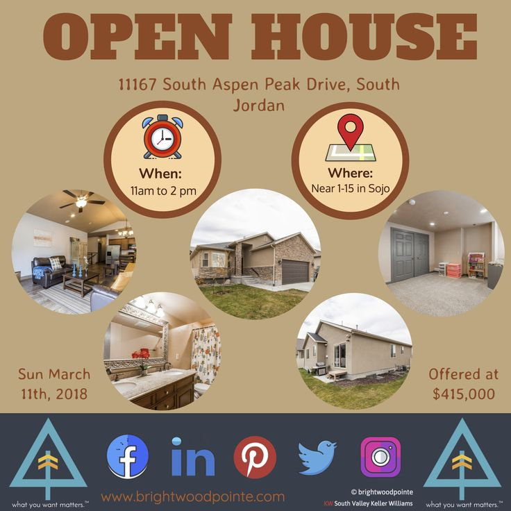 Open House Sunday March 11th from 11-2pm - 11167 South Aspen Peak Drive, South Jordan UT. Offered at $415,000. Call Ryan for more details 435-538-0710 . . . #openhouse #homeshopping #househunting #southjordan #utah #brightwoodpointe #realestate #realtor #marketing #followback #design #saltlakecity #amazing #love #graphicdesign #comevisitus #workfromanywhere #weekend