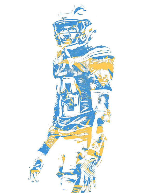 Derwin James Los Angeles Chargers Pixel Art 2 Art Print By Joe Hamilton Los Angeles Chargers Pixel Art Chargers