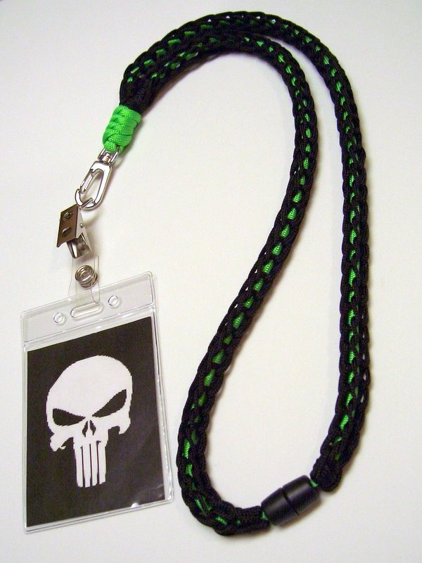 Paracord neck lanyard made with a 3 peg nail knitting for How to make a paracord lanyard necklace