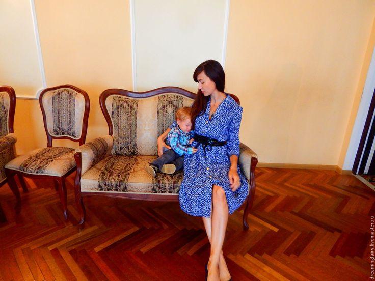 """Купить ПЛАТЬЕ - РУБАШКА """"СИНЕЕ"""" - тёмно-синий, цветочный, платье-рубашка, повседневное платье"""