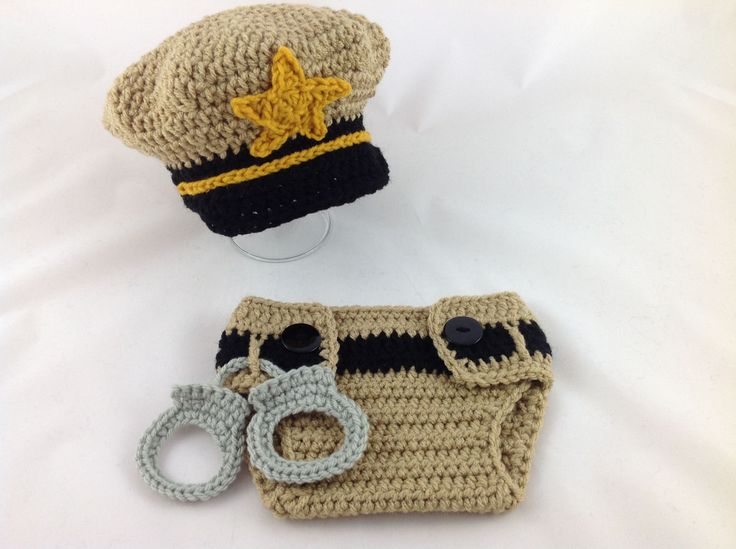 Baby  Sheriff Outfit - Crochet Sheriff Costume - Baby Police Uniform - Newborn Police Outfit - Infant Police Outfit - Baby Police Gift by TimelessCrochetCraft on Etsy
