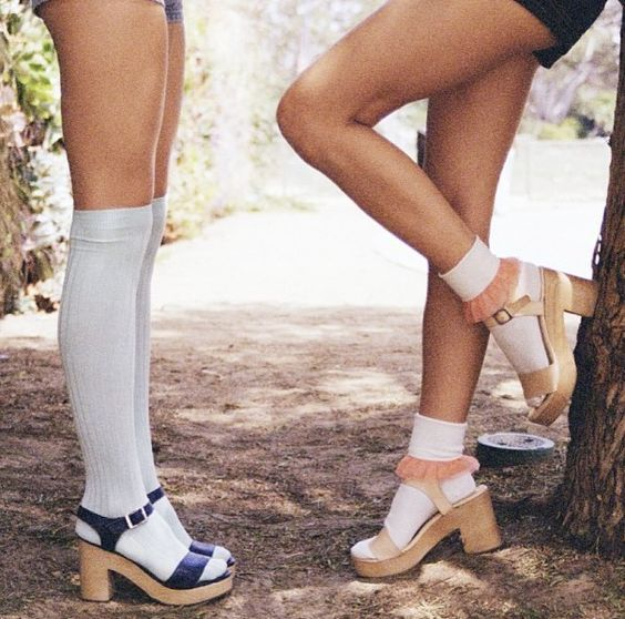 70s wooden heel sandal socks - Google Search