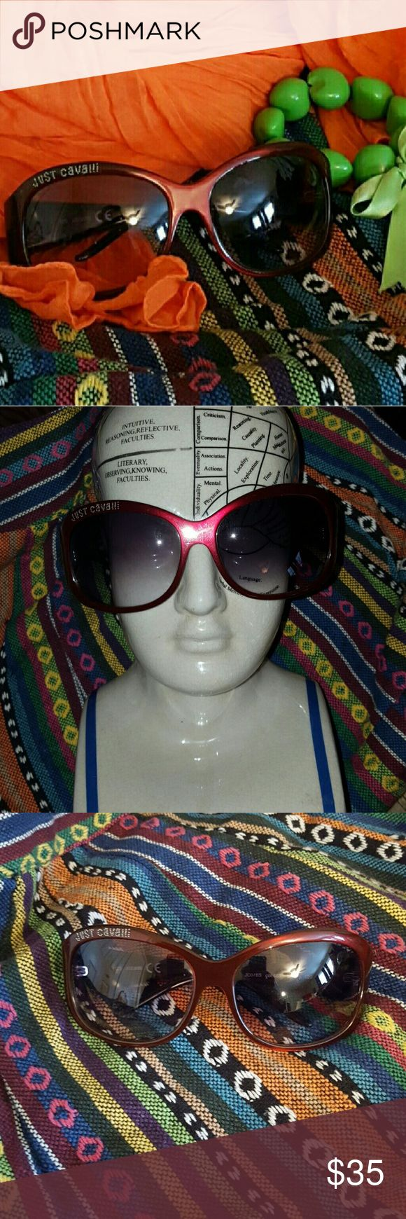 Just Cavalli Sunglasses Maroon JC076s Authentic Just Cavalli Sunglasses JC076s Authentic Maroon W/Rhinestones... These were loved loved loved... Some Scratches but only see when hold up to a lamp... Not Visible when wearing... You can see from Photos... Bought at Neiman's Last Call... Have a Case but I purchased that separate from... No Trades Just Cavalli Accessories Sunglasses