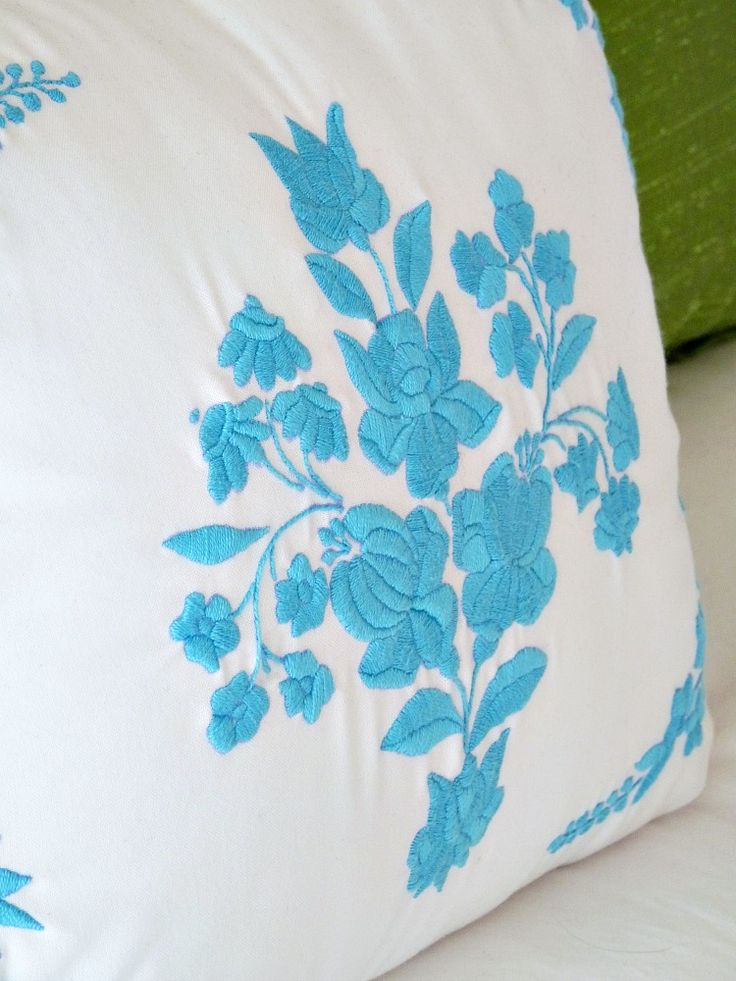 My Embroidery, Now a Pillow! Pretty Hungarian embroidery in solid turquoise