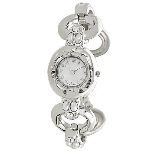 GP Designs Women's Rhinestone-accented Faux Pearl Toggle Watch SilverBin. $29.99