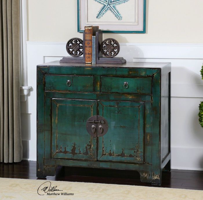 Antiqued Crackle Finish Cabinet Aged Brass Asian Style Hardware Peacock Blue