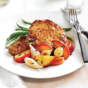 Pork Chops with Roasted Apples and Onions   CookingLight.com