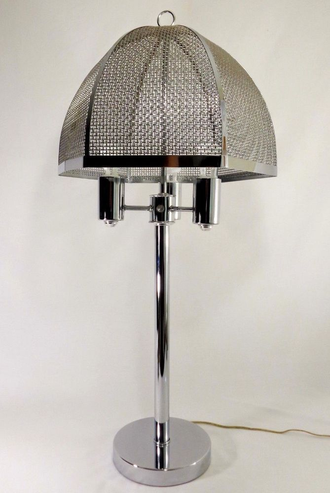 Laurel Bertoia Style Vint Lg Chrome Table Lamp W Orig Umbrella Wire Mesh Shade Modernist Laurellampcompany Chrome Table Lamp Lamp Brushed Steel Lamp