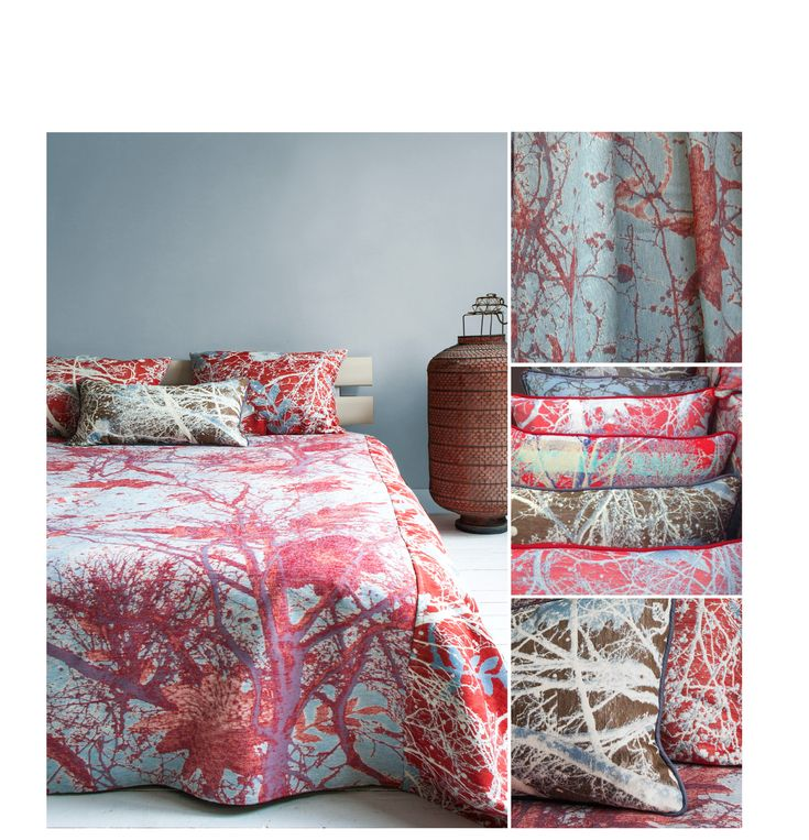 #wovenwonders #textiledesign #woven #fabric #bed #cushions #pink #red #bedding #beddengoed #bedlinnen #gordijn #curtain #mini #moodboard #minimoodboard #leemwonen #blogazine