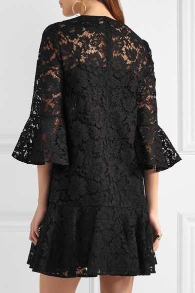Black cotton-blend guipure lace Concealed hook and zip fastening at back 71% cotton, 21% viscose, 8% polyamide; lining: 91% silk, 9% elastane Dry clean Made in Italy