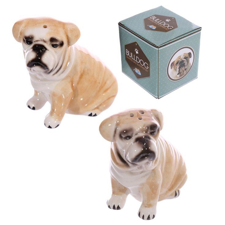 Novelty Ceramic Salt And Pepper Set   Bulldog